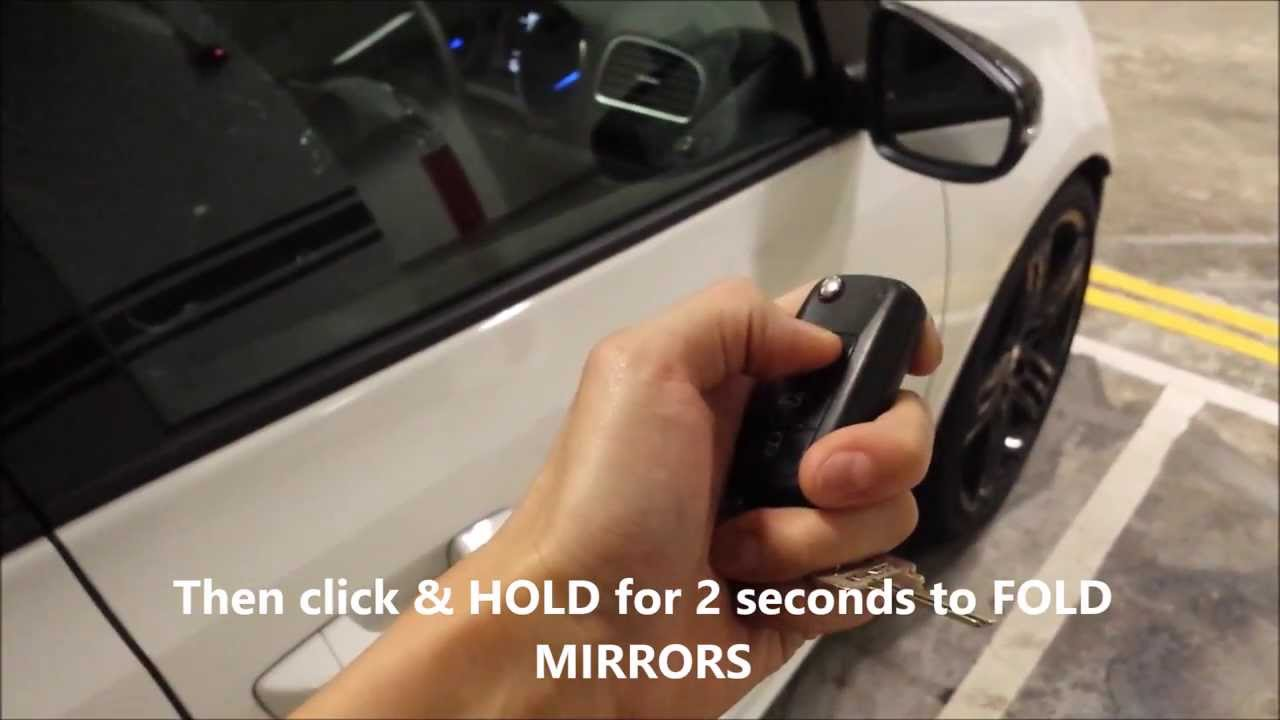 Folding Side Mirrors using Remote on Golf mk6 *powered by TMCT - YouTube
