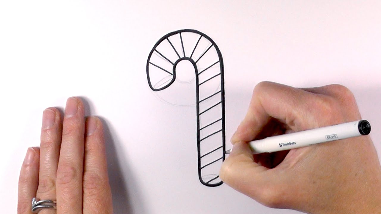 how to draw a cartoon christmas candy cane youtube