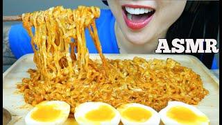 ASMR CHEESY SAMYANG SPICY NOODLES + SOFT BOIL EGGS (EATING SOUNDS) NO TALKING   SAS-ASMR