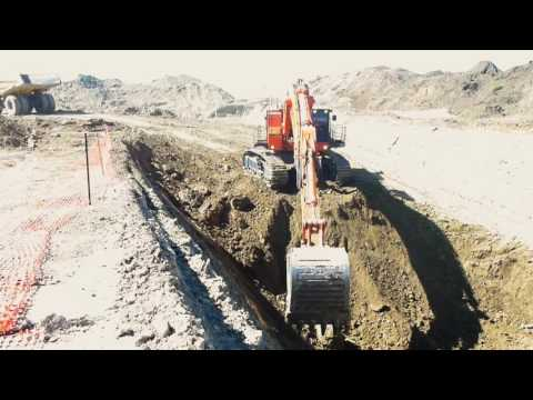 Loading out a 10 meter precut | Hitachi ex1200