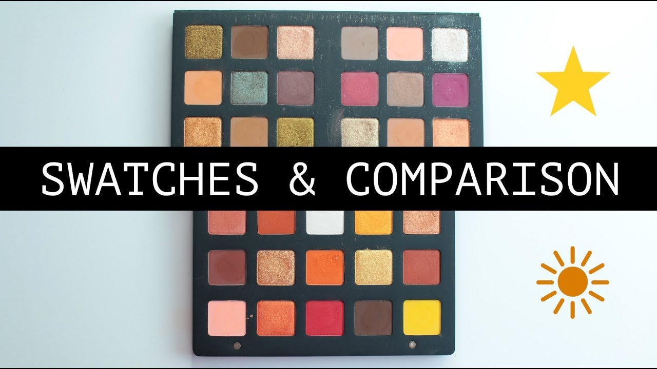 natasha denona sunset palette swatches and comparison with the star