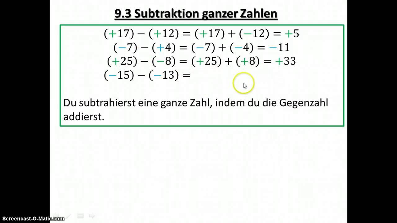 7.3 Subtraktion Ganzer Zahlen - YouTube
