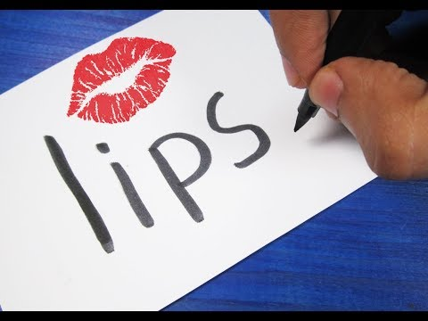 How to turn words LIPS 💋 into a Cartoon ! Learn drawing art on paper for kids
