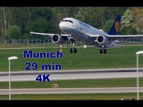 Spring Planespotting at Munich Airport, Takeoffs, Landings, Taxiing, LineUps 4K - 30MIN
