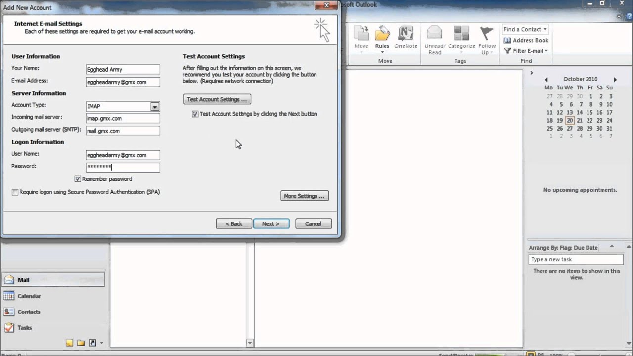 How to setup Outlook 2010 to work with GMX Mail - YouTube