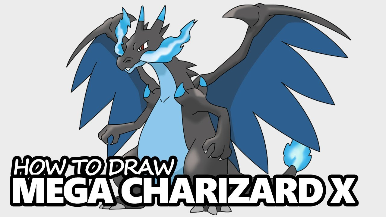How to Draw Mega Charizard X Step by Step – Pokemon