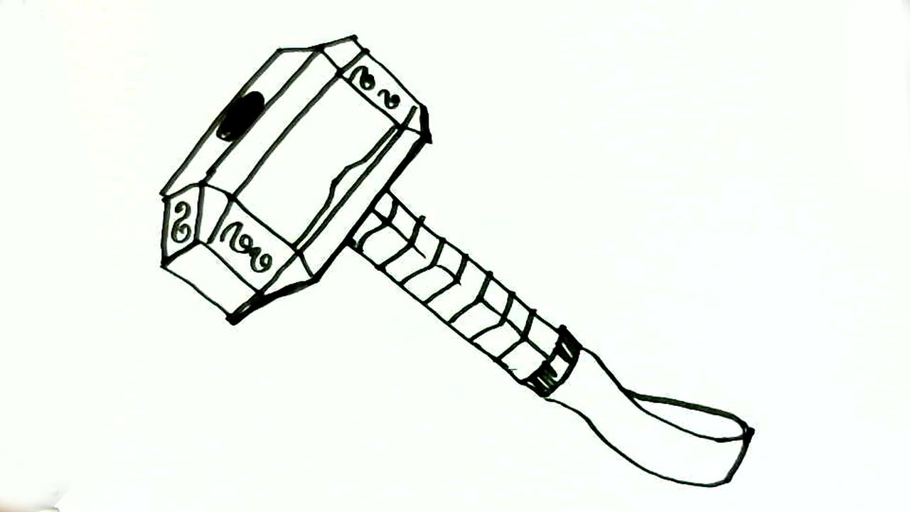 how to draw thor u0026 39 s hammer