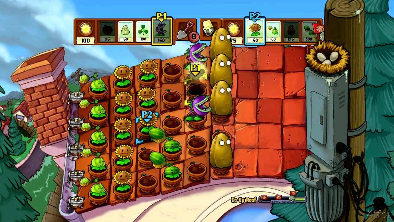 Plants Vs Zombies Xbox 360 Co Op Roof Youtube