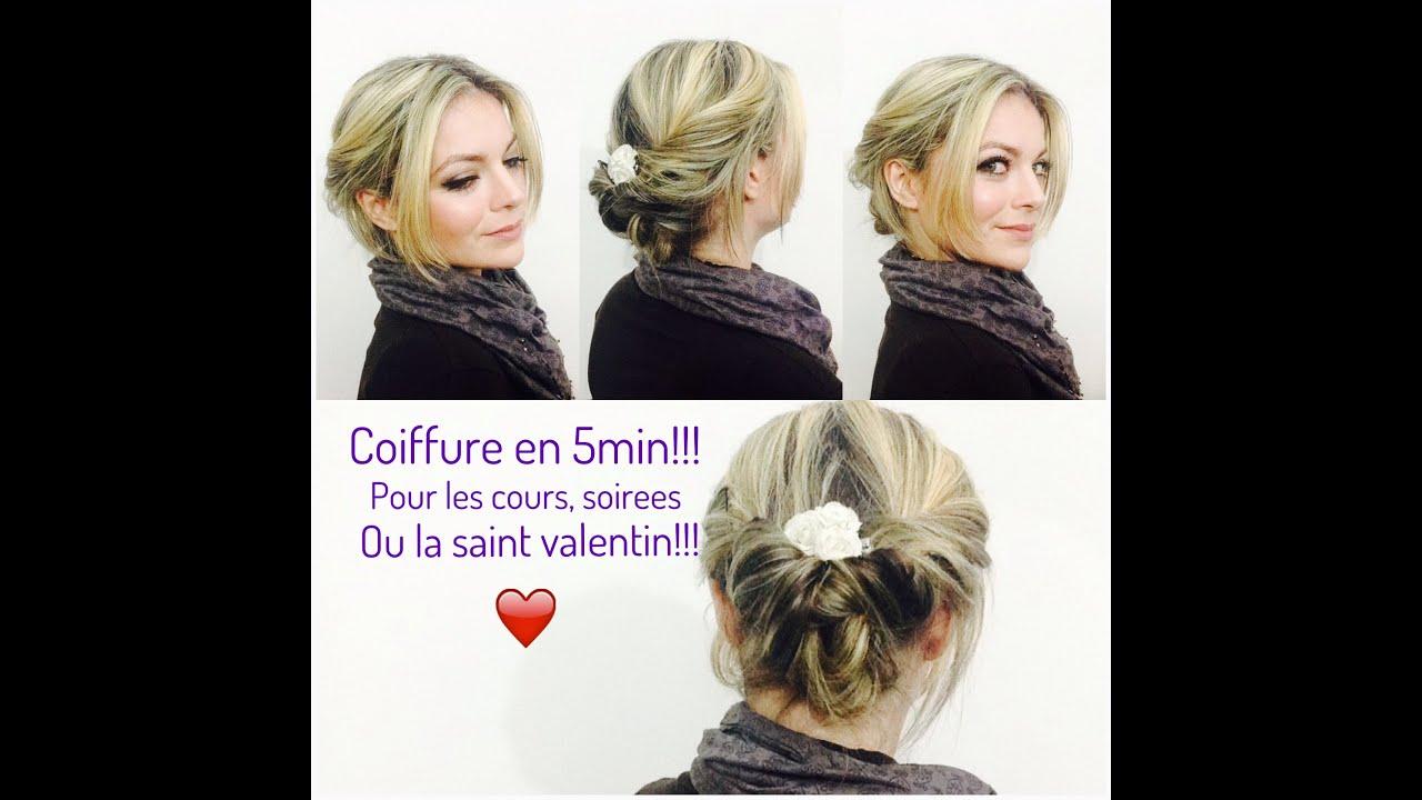 Chignon Coiffé Décoiffé Facile concernant coiffure en 5 min pour les cours/travail/soirée ou saint valentin