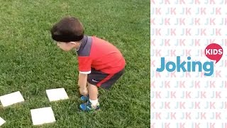 This little kid absolutely smashes a homemade obstacle course