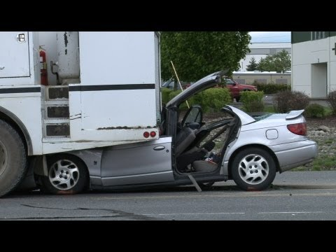 Car Under Truck Injury Accident Vehicle Extricated Canyon Road Spanaway WA