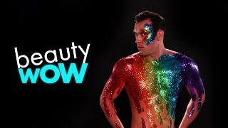 MAN TRANSFORMS INTO HUMAN PRIDE FLAG! | BEAUTY WOW