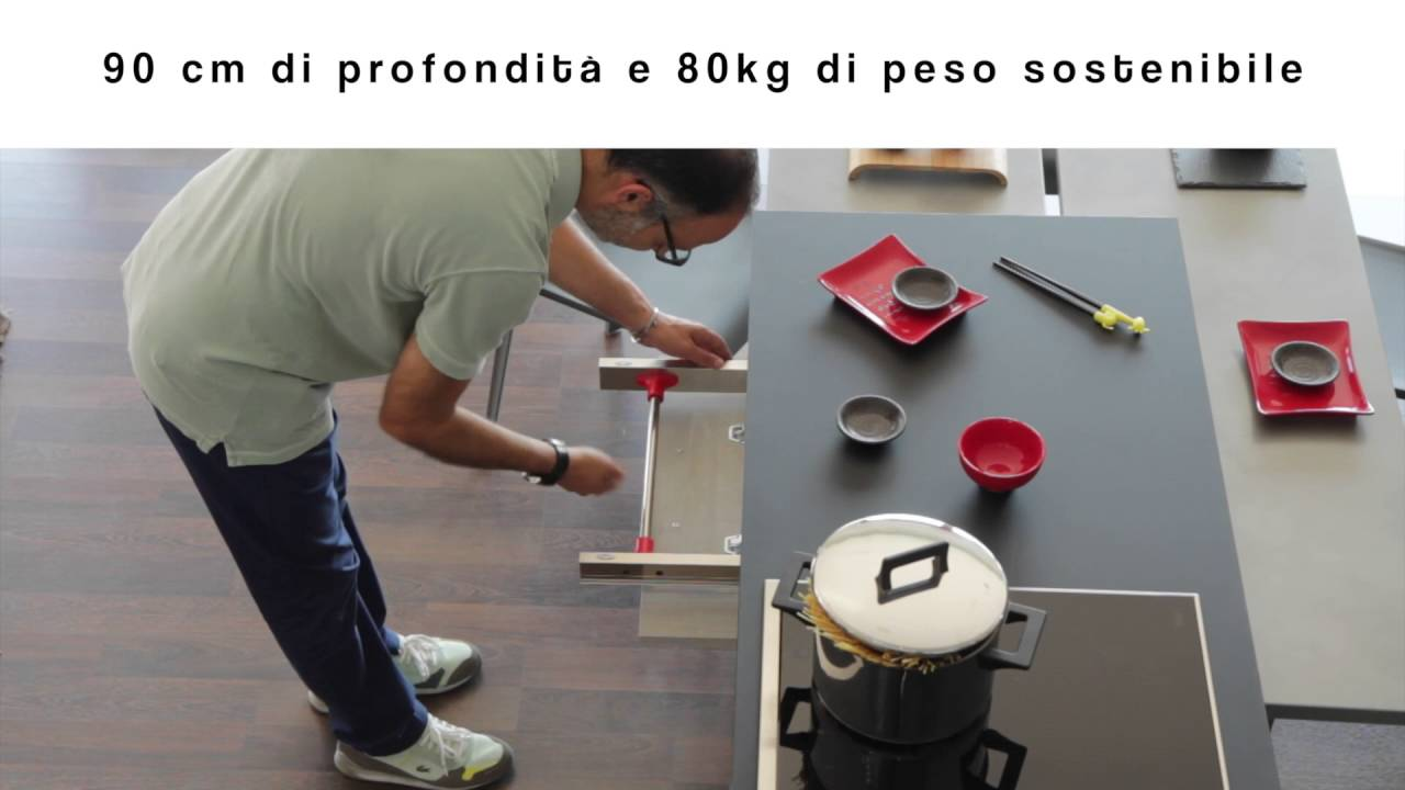 piano tavolo estraibile per cucina - YouTube