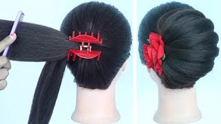 new french bun hairstyle with using clutcher || beautiful hairstyle || prom hairstyles || hairstyle