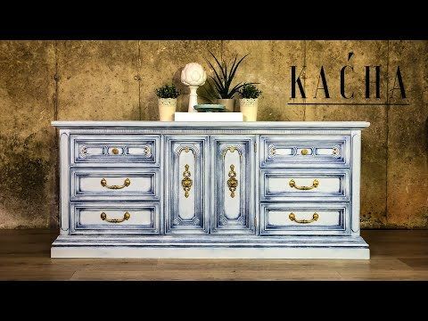 White Dresser Makeover W Chalk Paint / Country Chic / Furniture Makeover