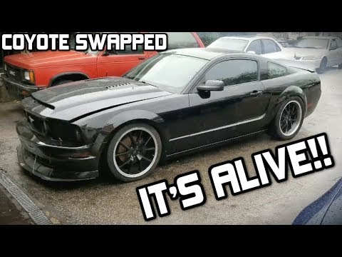 FIRST START UP OF THE COYOTE SWAP Mustang GT!!! (Open Headers!) *LOUD*