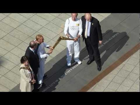 Bruce Forsyth with the Olympic Torch at BBC White City