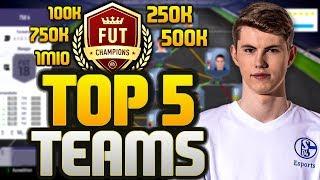 FIFA 18: TOP 5 FUT CHAMPIONS TEAMS! - TOTY SPECIAL! I 100K I 250K I 500K I 750K I 1MIO