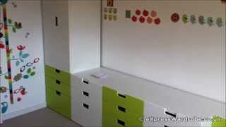Ikea Stuva Childrens Wardrobe Green And White.