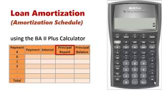 جدول الاستهلاك باستخدام BA II Plus