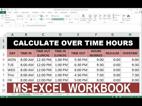 OVER TIME CALCULATE IN EXCEL