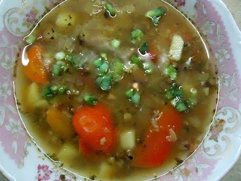 Овощной суп с фасолью маш и вялеными помидорами