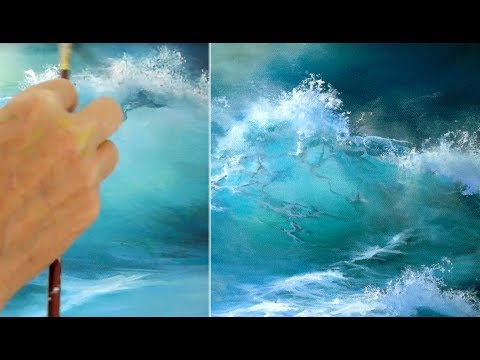 Malen mit Acryl, Blaue Welle, Painting with acrylic, blue wave  ocean