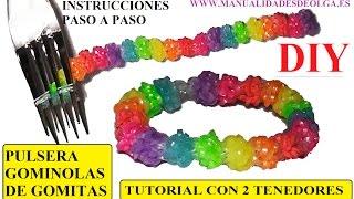 Repeat youtube video COMO HACER PULSERA GOMINOLAS DE GOMITAS CON 2 TENEDORES  (GUMDROP II BRACELET)