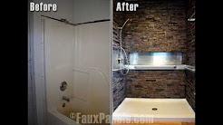 Stone wall bathroom design
