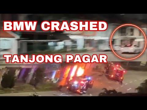 BMW Crashed At Tanjong Pagar And Caught On Fire ( Accident At 37 Tanjong Pagar Rd On Feb 13 2021) SG