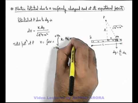 13. Phy | Electric Potential | Electric Potential due to a Uniformly Charged rod on its Equator (GA)
