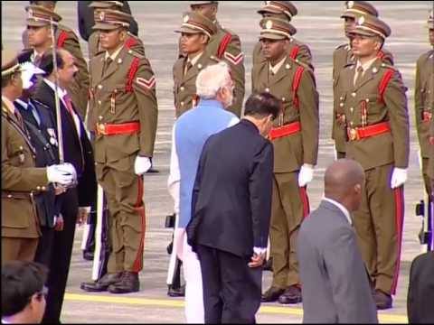 PM in Mauritius: Arrival and guard of honour at airport