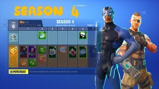 NOUVEAU FORTNITE SEASON 4 BATTLE PASS WITH TIERS SHOWCASE NEW SKINS AND METEOR DESTRUCTION!!
