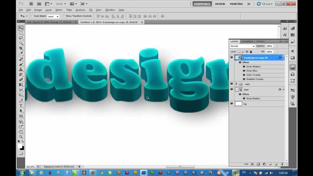Hướng dẫn: Tạo hiệu ứng chữ 3d trong photoshop