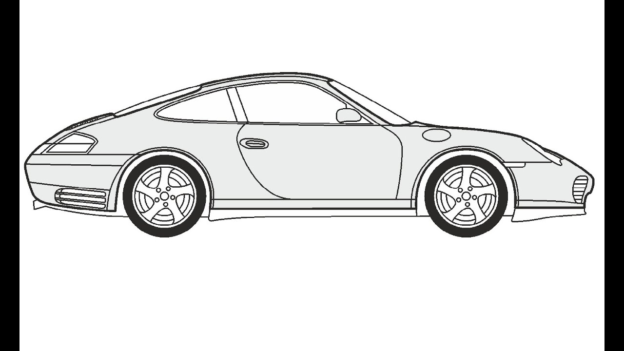 d11332897c8f How to Draw a Porsche Carrera 4S   Как нарисовать Porsche Carrera 4S ...