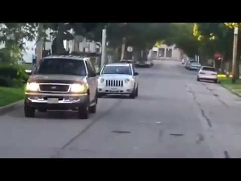 Woman drives on sidewalk to pass school bus and gets caught