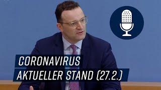 Bundesgesundheitsminister jens spahn spricht am 27. februar 2020 zur aktuellen coronavirus-lage.um die corona-epidemie zu bekämpfen, haben das bundesgesundhe...