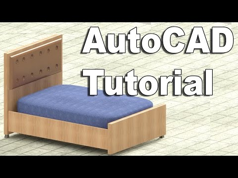 Autocad Tutorial Of 2d And 3d Model Of Bed