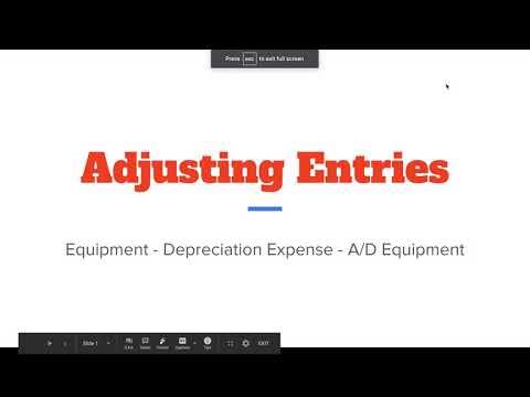 Adjusting Journal Entries - Equipment, Depreciation Expense