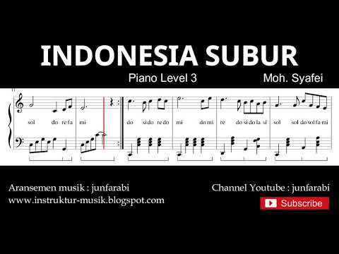 indonesia subur not balok piano level 3 - lagu wajib nasional