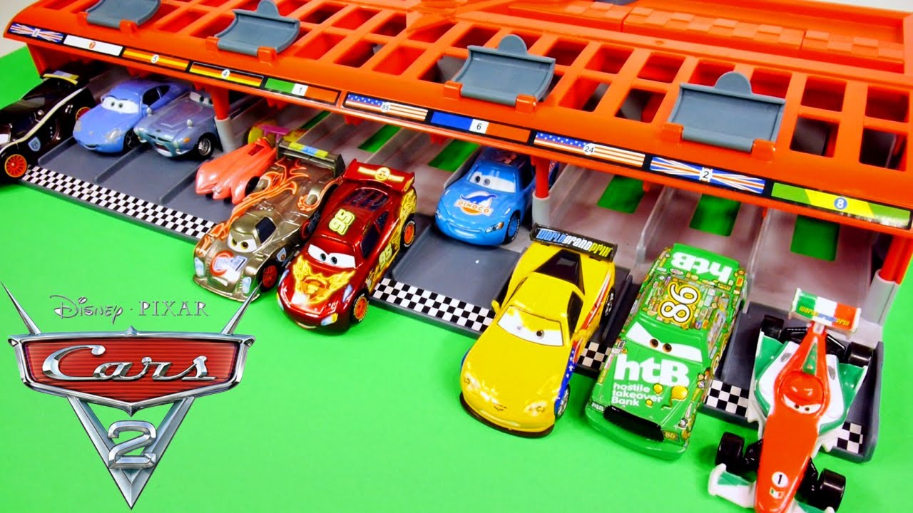 cars 2 world grand prix 10 car race launcher hot wheels toys disney pixar cars carrying case youtube