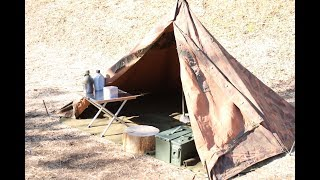 今回は最近よく流通しているハンガリー軍ポンチョテントを設営していく...