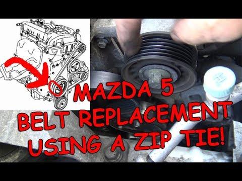 2009 Mazda 5 Serpentine Belt Replacement Using Zip Tie!