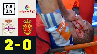 Traumtor und Horror-Foul im Aufstiegsspiel: Deportivo La Coruna - Mallorca 2:0   La Liga 2   DAZN