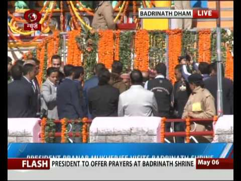 President Pranab Mukherjee visits Badrinath Shrine