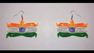 Quilling earring - Indian Flag Quilling paper earring making video