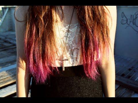 diy dip-dyed purple pink hair
