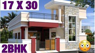 17 X 30 , Modern House Design , Plan Map , 2BHK , 3D Video , Parking , Lawn Garden Map , Naksha