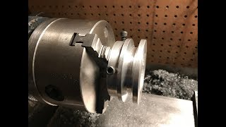 turning aluminum pulley on home made lathe