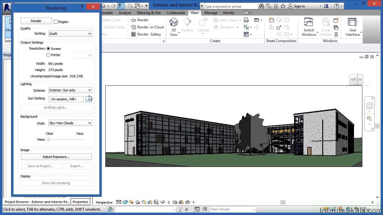 Advanced revit architecture 2014 tutorial exterior and - Revit exterior rendering settings ...